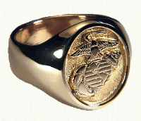 18KY Marine Corps Signet Ring